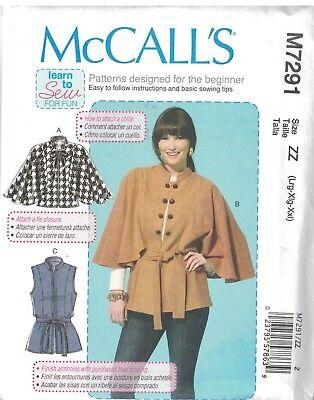 7291 UNCUT McCalls Sewing Pattern Misses Loose Fitting Capelet Vest Belt Easy