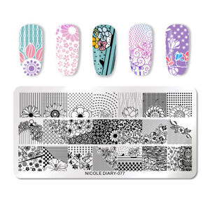 NICOLE-DIARY-Nail-Stamping-Plates-Flowers-Rectangle-Nagel-Kunst-Schablone-077