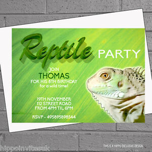 Reptile Snake Lizard Kids Childrens Birthday Party Invitations X 12