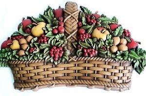 "Vtg Homco Wall Art 1978 Fruit Basket Faux Wood Carving 9.5'"" x 15"""