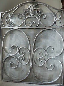 Large-French-Style-Grey-Wash-Ornate-Metal-amp-Mesh-3-Panel-Fire-Guard-Screen