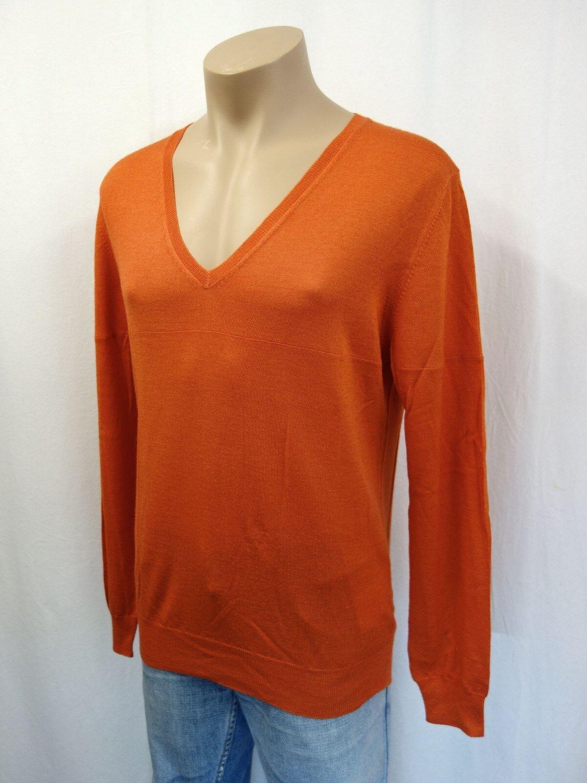NEU PRADA Designer Pullover Gr.50 V-Ausschnitt Wolle mit Seide Orange