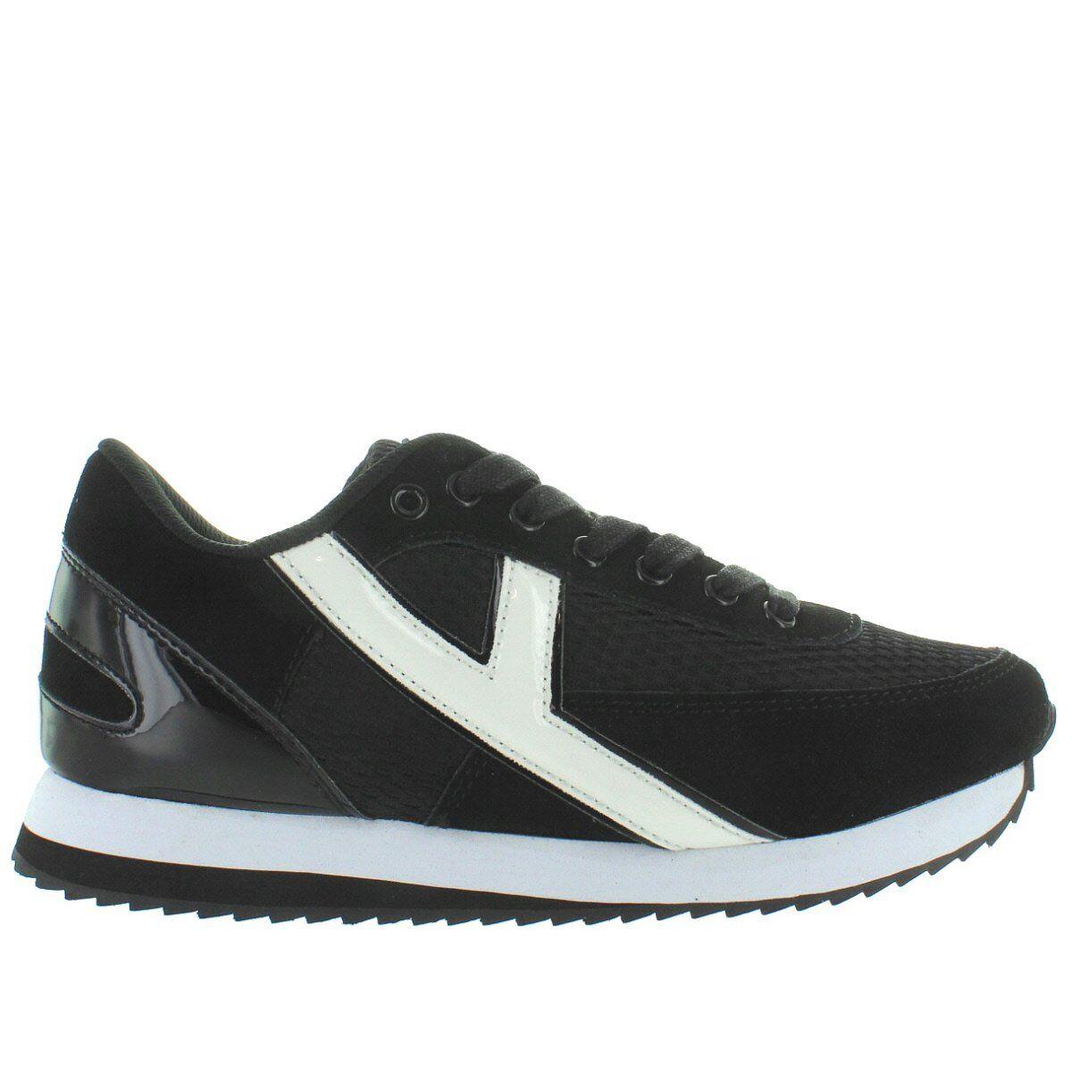 Flash YRU-Negro blancoo Zapatillas de de de plataforma Cuña de encaje  ganancia cero