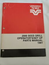 Versatile 2000 Seed Drill Operators Manual Parts Catalog 1981