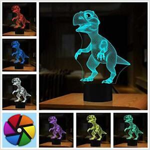 3D-Illusion-Lampe-Dinosaurier-Geschenke-Spielzeug-Decor-LED-Nachtlicht-Lam-Neu