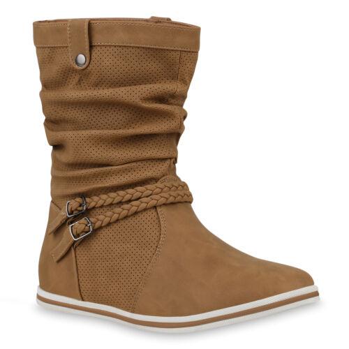 36-41 Trendy Bequeme Damen Stiefel Flache Schlupfstiefel 70991 Boots Gr