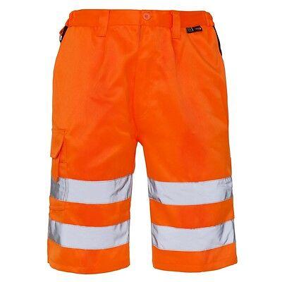 Supertouch Orange Hi Vis Visibility Mens Polycotton Shorts Trousers Pockets New
