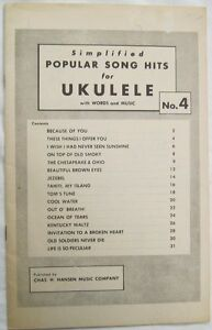 Simplified Popular Song Hits For Ukulele No 4 Undated