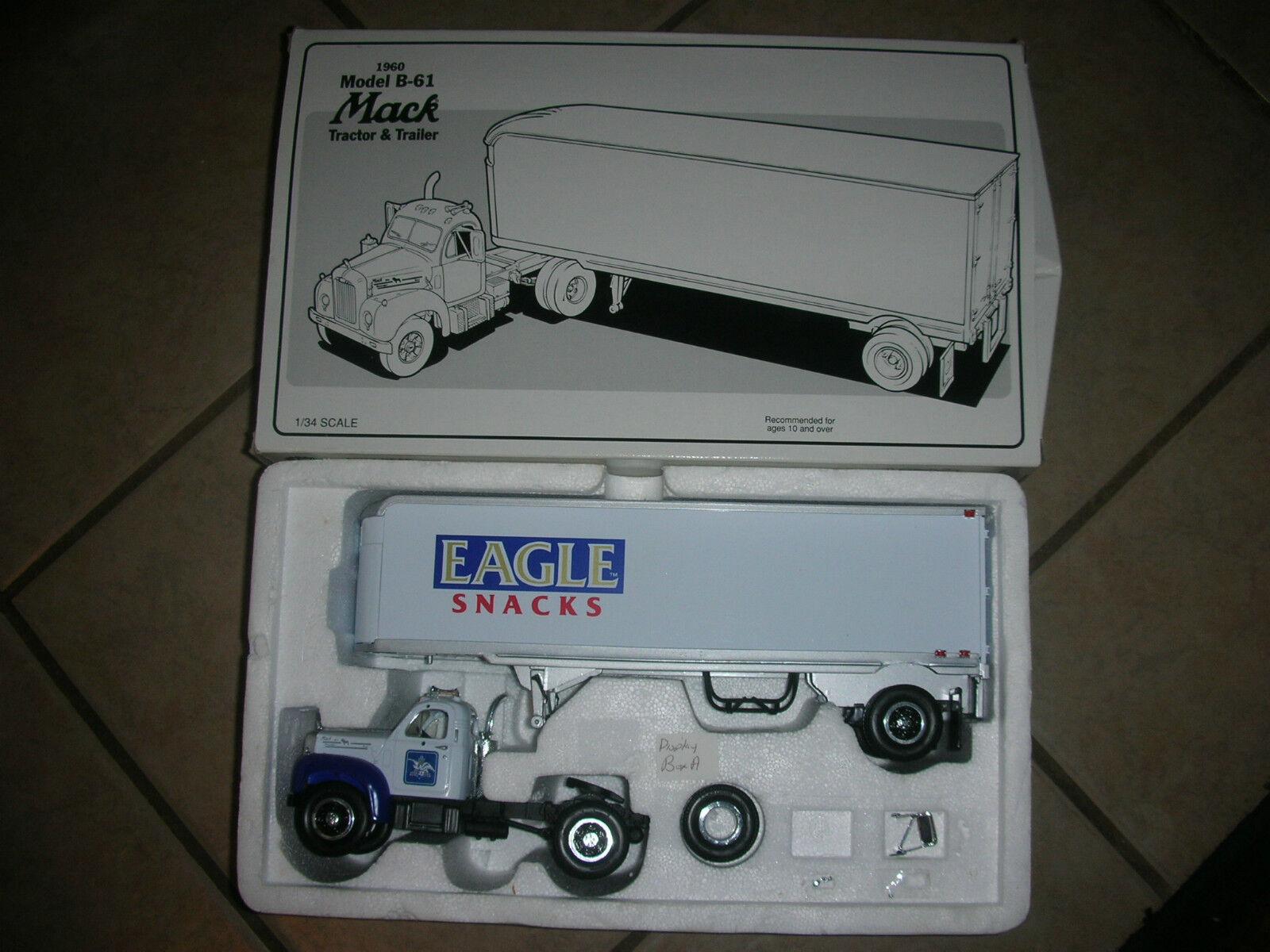 First Gear Mack 1960 Model B-61 Tractor & Trailer- Eagle Snacks  4   (B 5)