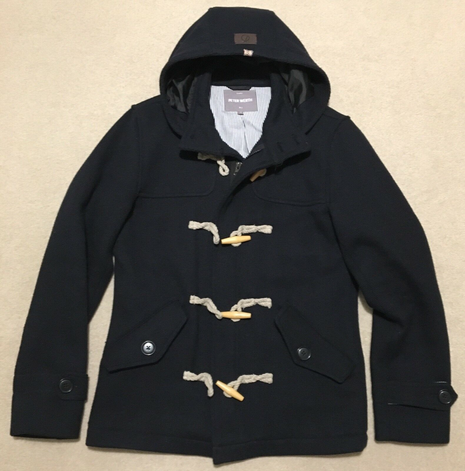 Peter Werth Men's Coat, New, Wooden Buttons, Navy, Small