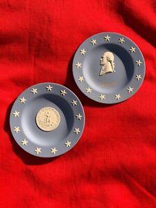 WEDGWOOD-England-Seal-of-VIRGINIA-standing-Liberty-amp-Thomas-Jefferson-SET-sj17j