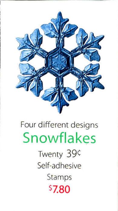 2006 39c Christmas Snowflakes, Vending Booklet of 20 Sc