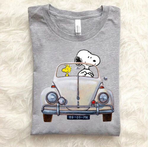 Snoopy And Woodstock Poster Car 176 VW Beetle T-Shirt Funny Vintage Gift For Men
