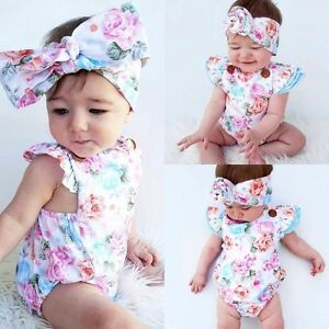 01691a3b40c5 UK Stock Floral Newborn Baby Girls Bodysuit Romper Jumpsuit Sunsuit ...