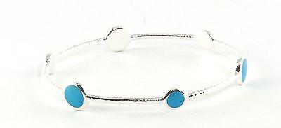 IPPOLITA Blue Howlite Sterling Silver Bangle Bracelet Station Stone .925 Size 2