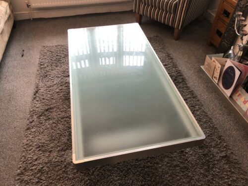 Vintage retro metal large aviation sled low coffee table with frosted glass top
