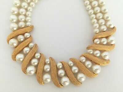Vintage Timeless Elegant Napier Triple Strand Cream Faux Pearl Gold Beads Gold Clasp Ladies Necklace Gift for Her