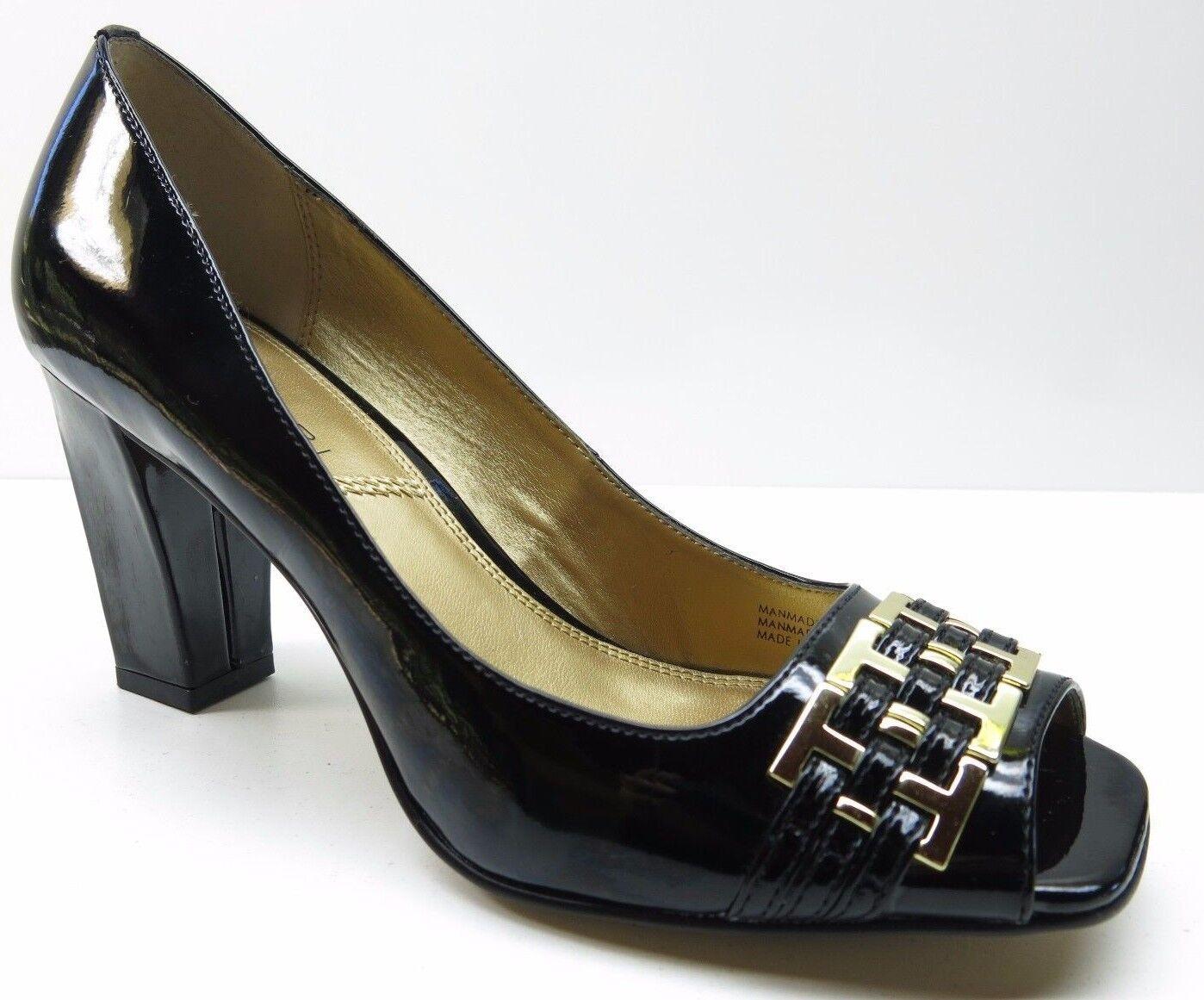 Tahari Pumps Bennett Black Faux Patent Leather Open Toe Dress Pumps Tahari Heels 6.5 MSRP $79 29ee02
