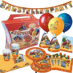 60 Teiliger Partykoffer Baustelle Kindergeburtstag Bauarbeiter