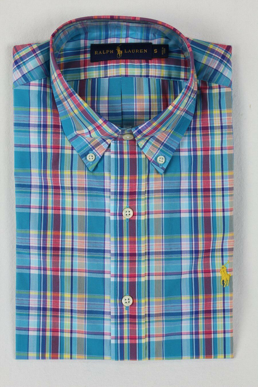 Ralph Lauren Turquoise Pink Plaid Button Down Classic Fit Dress Shirt NWT