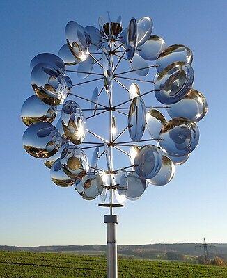 """Edelstahl Windspiel Gartenstecker Windrad Beetstecker /""""UIVERS 56/"""" D ca 40cm"""
