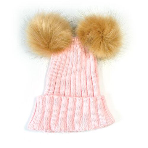 Cute Baby Kids Toddler Double Fur Pom Cap Hat Knit Winter Warm Hooded Hat Cap