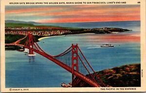 Vtg 1930's Marin Shore, Golden Gate Bridge, San Francisco California CA Postcard