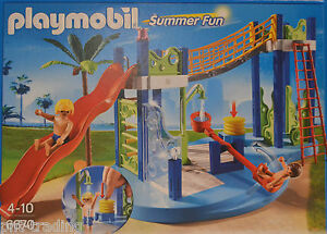 PLAYMOBIL-6670-Aire-toboggan-Amusement-Dan-L-039-eau-et-figurines