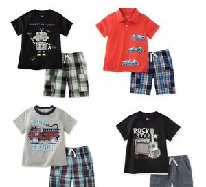 Kids-Headquarters-Boys-2-Pc-Cotton-Tee-Shirt-amp-Shorts-Set-New