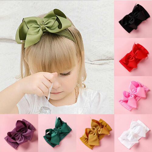 Baby Toddler Girls Kids Bow Knot Hair Band Cute Newborn Turban Elastic Head wrap