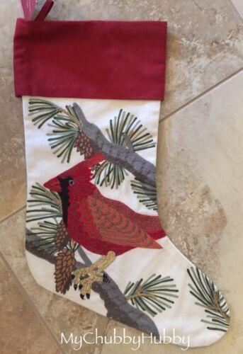 1 ~CHRISTMAS~ NO Mono NWT Pottery Barn ~CARDINAL~ CREWEL Embroidered STOCKING