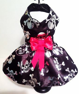 Dog Dresss Halloween Fancy Dress Black Satin with Silver Skulls Red net and bow