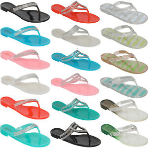 NEW-LADIES-WOMENS-BEACH-FLIP-FLOPS-JELLY-FLIPFLOPS-SANDALS-RETRO-SHOES-SIZE-3-8