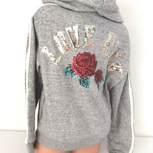 Details zu VICTORIAS SECRET PINK SEQUIN BLING LACE UP HOODIE SWEATSHIRT GRAY WITH ROSES S