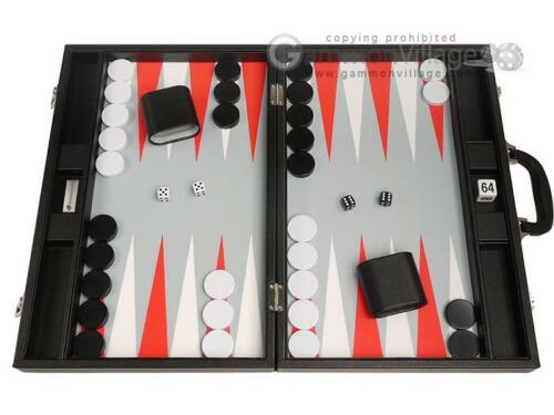 19 Premium Backgammon Set - Large Size - Black Board, White/Scarlet Red Points