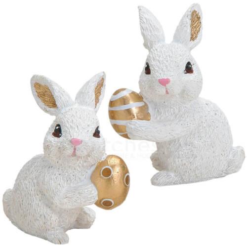 Osterhasen Häschen Hasen mit Ei Poly Dekofiguren weiß gold 2er Set sort je 5 cm