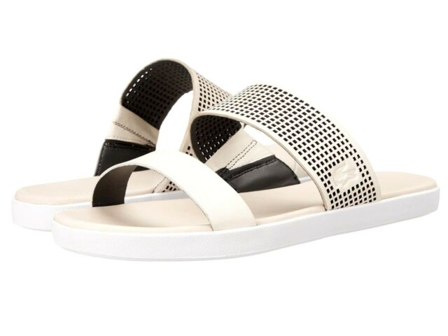 20eb235fd2a7c5 Lacoste Natoy 216 Slide Sandal Women s Leather Off White Black Size ...