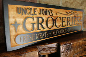 Kitchen Decor Custom 24x6 Dry Goods Wood Sign Engraved Sign 3D Sign Pantry CNC