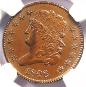 1828-Classic-Head-Half-Cent-1-2C-NGC-Uncirculated-Detail-UNC-MS-Rare-Coin