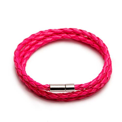 Bracelet Fait Main Unisexe Femmes Hommes Tressé Acier Cuir Fermoir Magnétique
