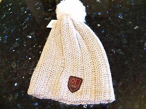 New-Womens-UGG-Cardy-Stucco-Warm-Knit-Fall-Winter-Sheepskin-Pom-Pom-Beanie-U1378