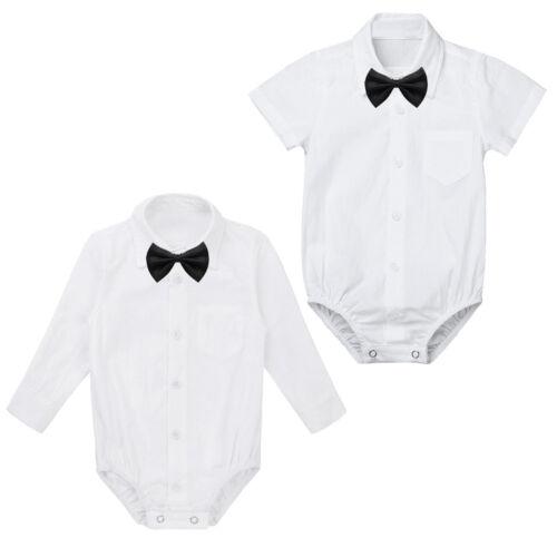 Newborn Baby Boys Formal Gentleman Shirt Romper Bow Tie Jumpsuit Bodysuit Party