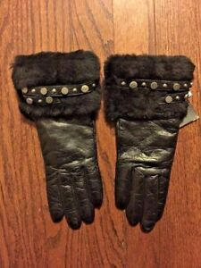UGG-Ladies-Gloves-Size-S-Black-Leather-Sheepskin-Trim-Cashmere-Lining