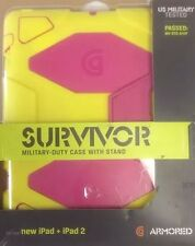 Griffin Survivor Extreme Duty Case w Stand New iPad 2 3 4 Yellow Pink GB35693