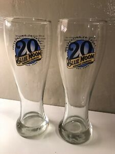 Blue Moon Brewing Company Tall 20th Anniversary Pilsner Beer Glass