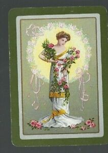 Swap-Playing-Cards-1-WIDE-VINT-ENG-SERENE-LADY-DRAPED-IN-PINK-ROSES-EW198-VGC