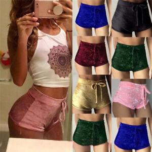 Femmes-velours-cordon-elastique-shorts-haute-taille-Skinny-pantalons-courts
