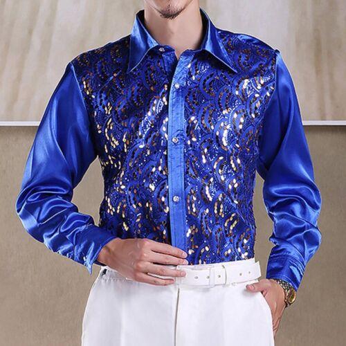 Hot Man Sequined Dancewear Latin Dance Shirt Costume Samba Ballroom Dancing Top