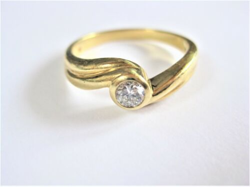 Gold 750 Brilliant Sapphire Ring Vintage of 1970S Brilliant Point Stone Ring Yellow Gold 750 Around 1970
