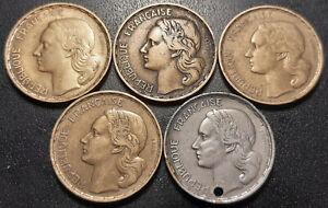France-IVeme-Republique-lot-de-x5-50-francs-Guiraud-1951-a-1953
